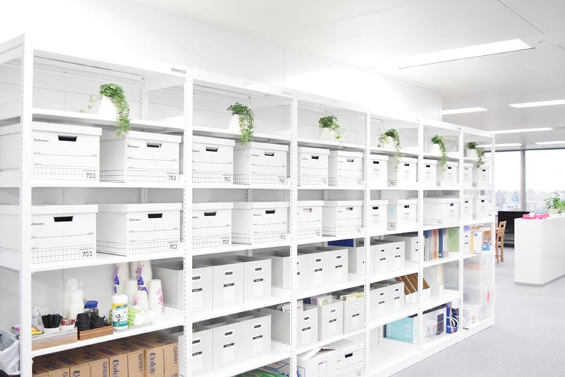 執務エリアの壁際には白で統一されたラックと収納が並ぶ。観葉植物も置かれ、清潔感のあるオフィスをさらに引き立てている