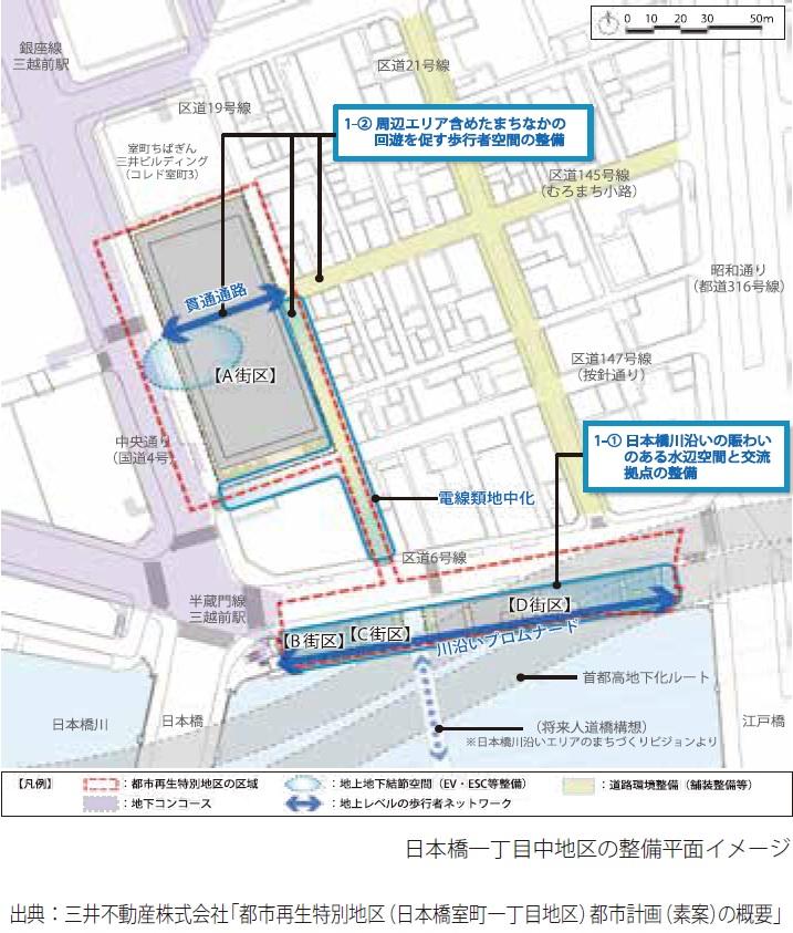 日本橋一丁目中地区の整備平面イメージ